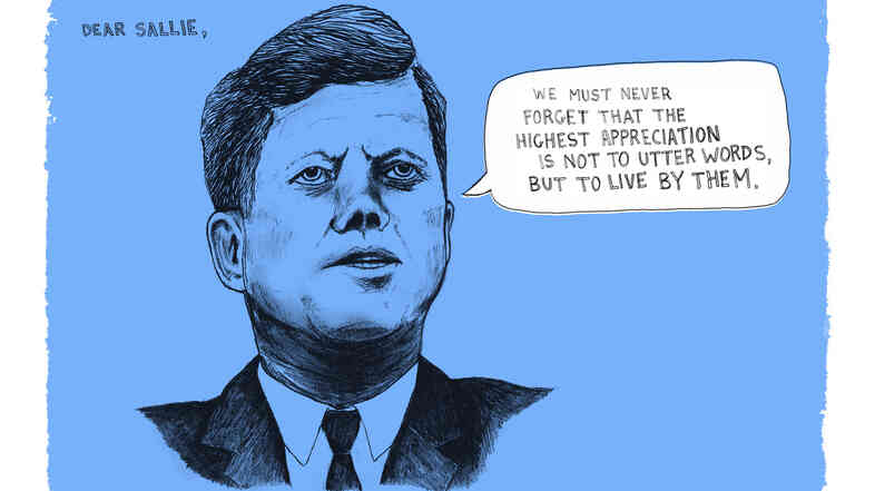 Illustrated Kennedy quote.