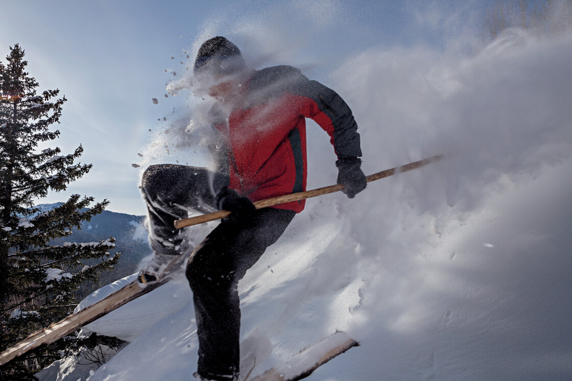 Blasting through powder on wooden, horsehide-bottomed skis, with a single pole for balance, an Altai skier shows off the skills and equipment his distant ancestors perfected.