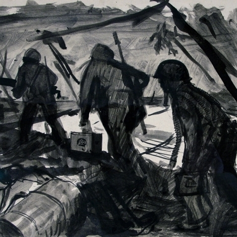 Three Marines Walking Through a Battlezone is one of many sketches that Harry Jackson produced while serving as a Marine Combat Artist during WWII.