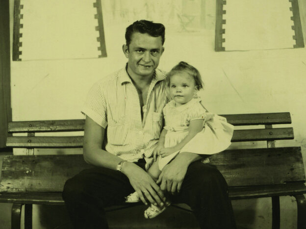 Rosanne Cash, seen here in 1956 with her dad Johnny, is one of many musicians featured in Oxford American magazine's winter issue on the music of Tennessee.