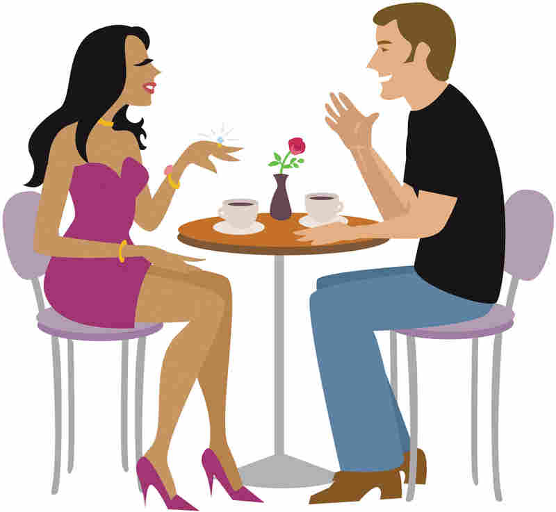 An illustration of a couple sitting at a table and talking.