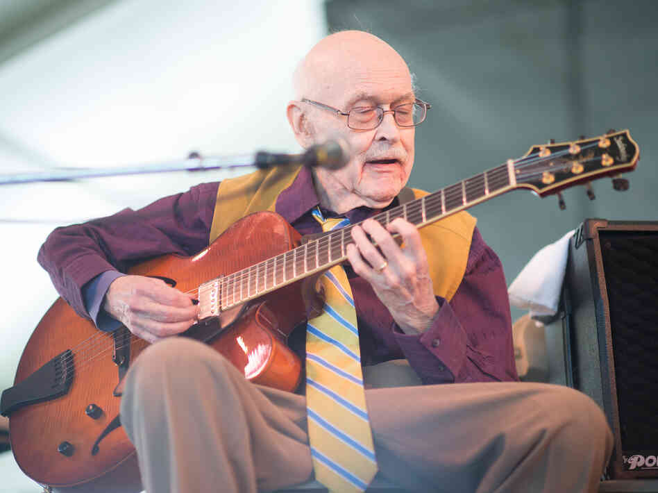 Jim Hall performs at the 2013 Newport Jazz Festival.