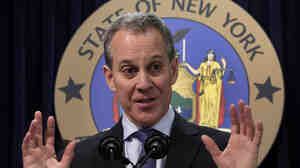 New York State Attorney General Eric Schneiderman holds a November news conference on a settlement deal with JPMorgan Chase.