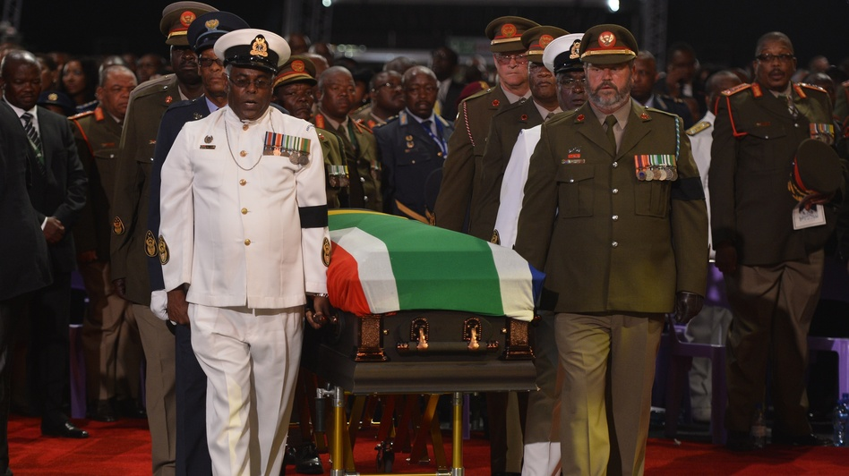 Nelson Mandela's casket was escorted to the funeral service by senior members of South Africa's military. (AFP/Getty Images)
