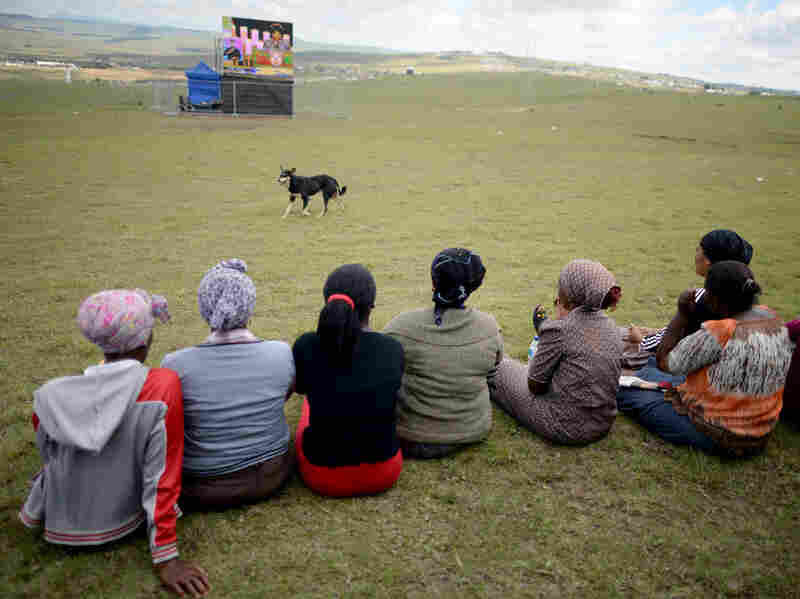 Large video screens were set up around the village of Qunu for the more than 4,000 mourners who gathered for the service.