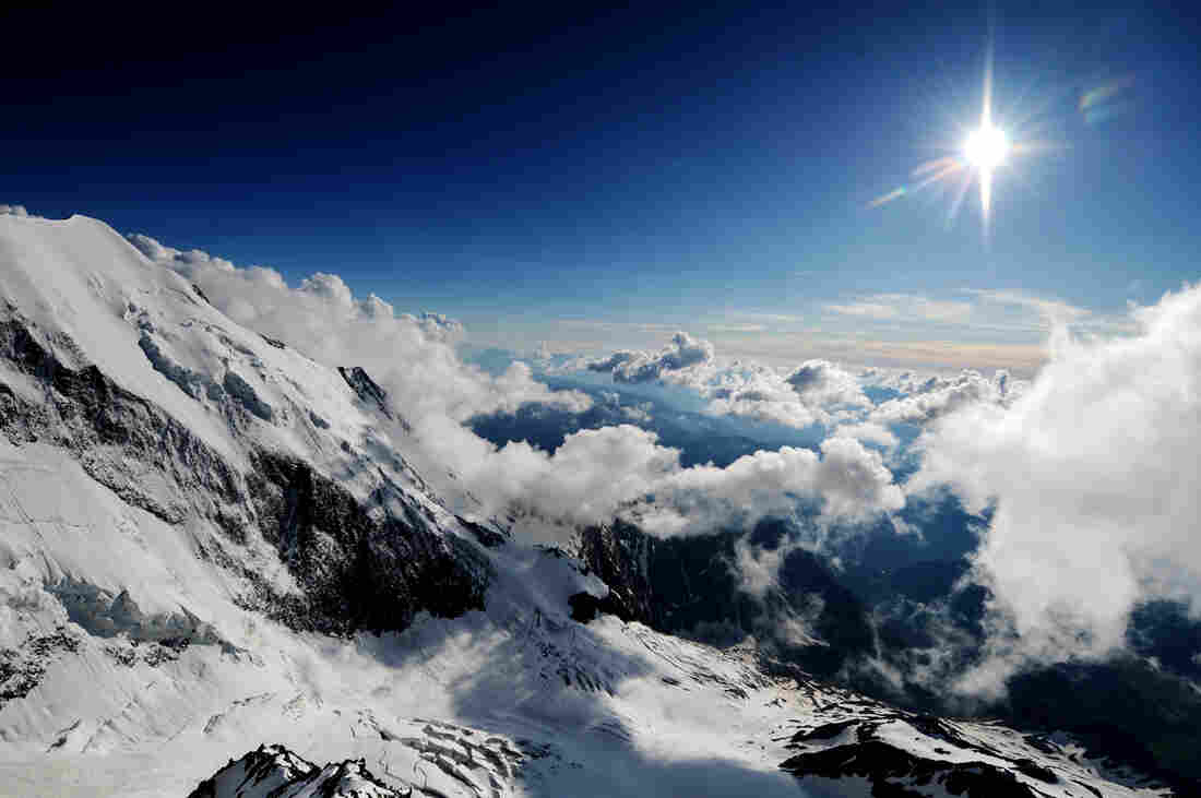 The sun rises over the mountains of Mont-Blanc, eastern France.