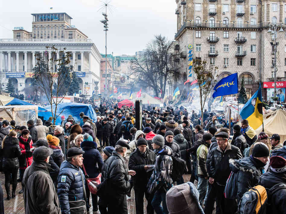 Anti-government protesters gather on Independence Square on Friday in Kiev, Ukraine.