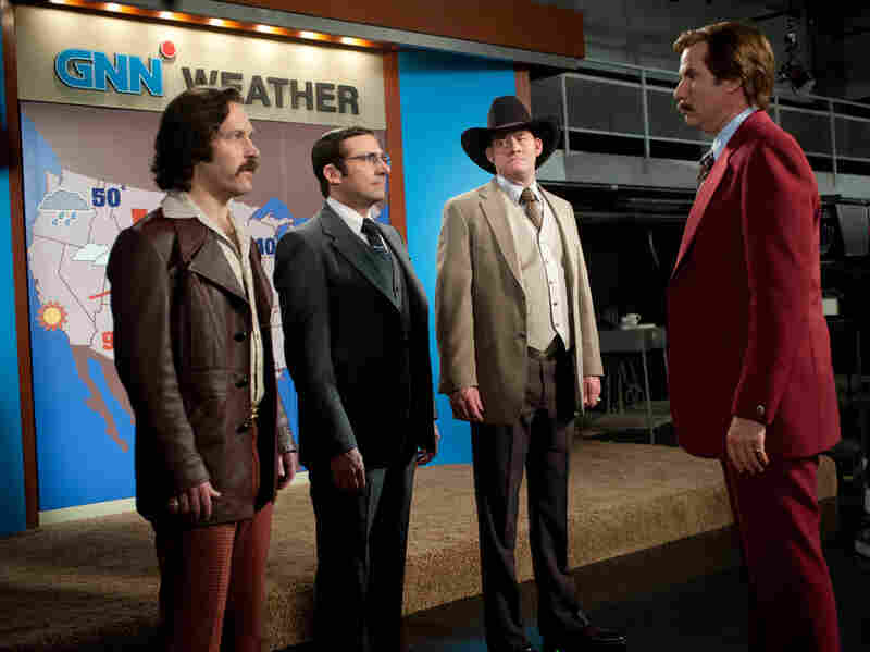 Paul Rudd (from left), Steve Carell and David Koechner round out Ferrell's San Diego news team, which graduates to cable in the sequel.