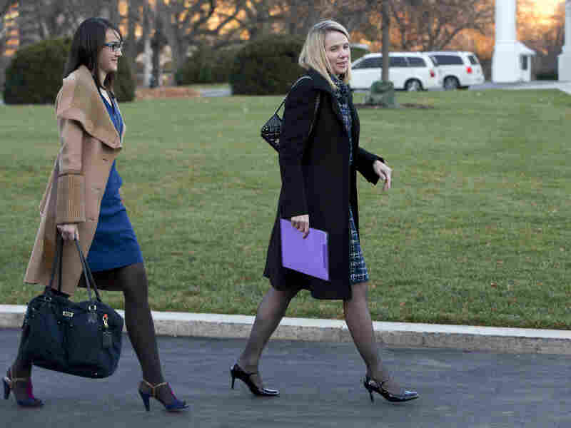 Marissa Mayer, CEO of Yahoo Inc., is on the RSVP list for a White House meeting on HealthCare.gov tomorrow. She's seen here headed to a previous White House meeting in 2012.