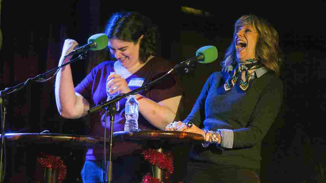 If you'd just delivered a no-holds-barred Tarzan yell, you'd be celebrating, too. Comedian Lizz Winstead (right) and Julia Lunetta are not shy.