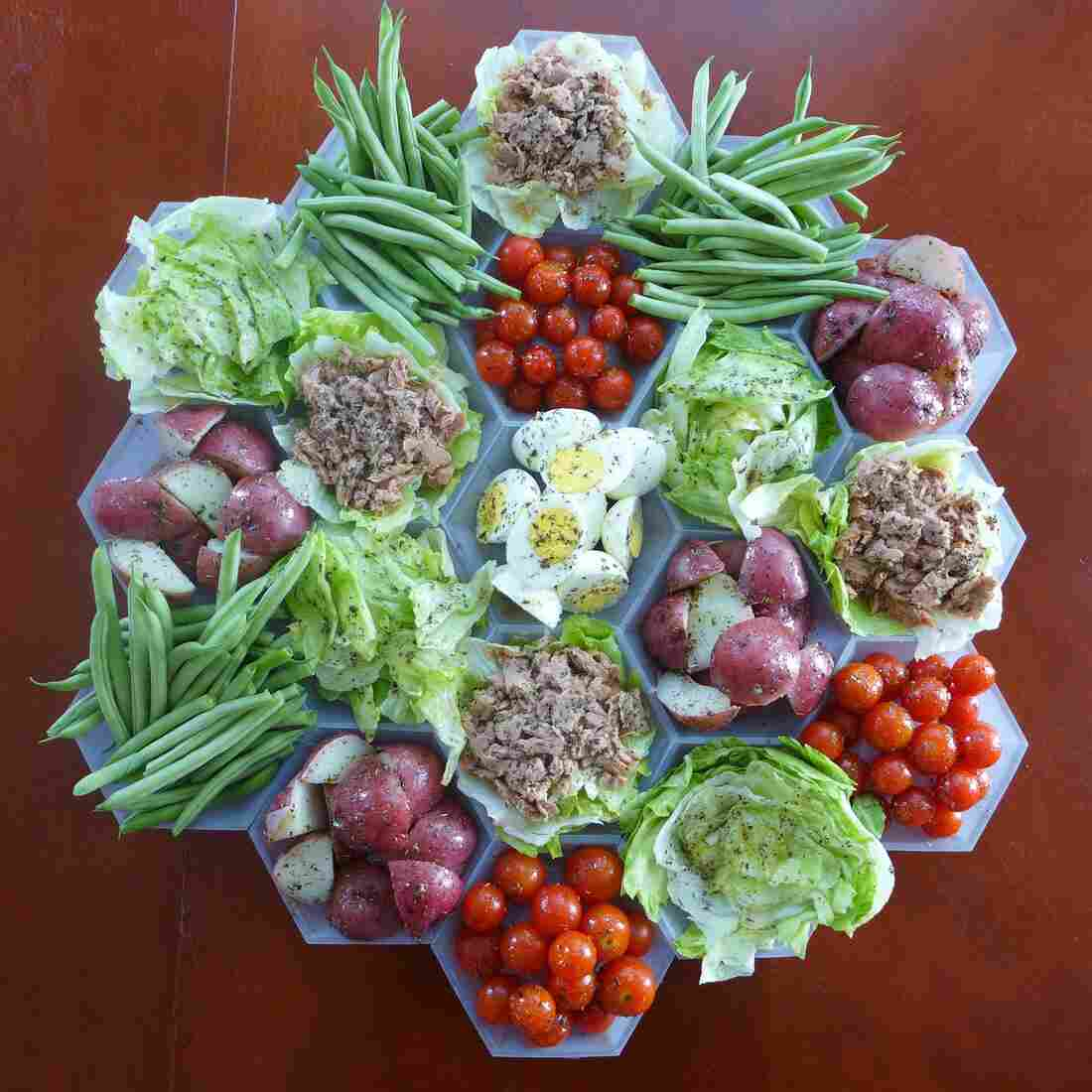 The deconstructed, hexagonal salad nicoise: perfect for all your gourmand geek friends.