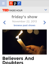 The new TED Radio Hour home, shown in a smartphone browser.