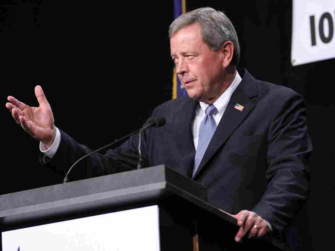 Republican Rep. Tom Latham speaks in Des Moines, Iowa, on Nov. 9. Latham and two other congressmen announced Tuesday they will not seek re-election in 2014.