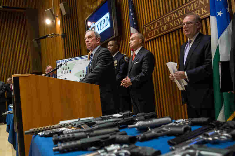 Bloomberg speaks during a news conference to announce an operation that seized the largest number of illegal guns in the city's history on Aug. 19 in New York City. The operation, which involved an undercover agent buying guns that were smuggled from North Carolina and South Carolina, yielded more than 250 guns. Nineteen people were charged in the operation.