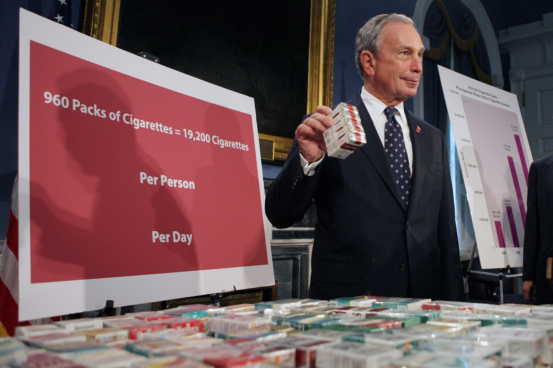 Bloomberg stands near a display of cigarettes during a news conference at City Hall, where he announced that New York City had filed a lawsuit against eight smoke shops on an Indian reservation on Long Island, on Sept. 29, 2008.