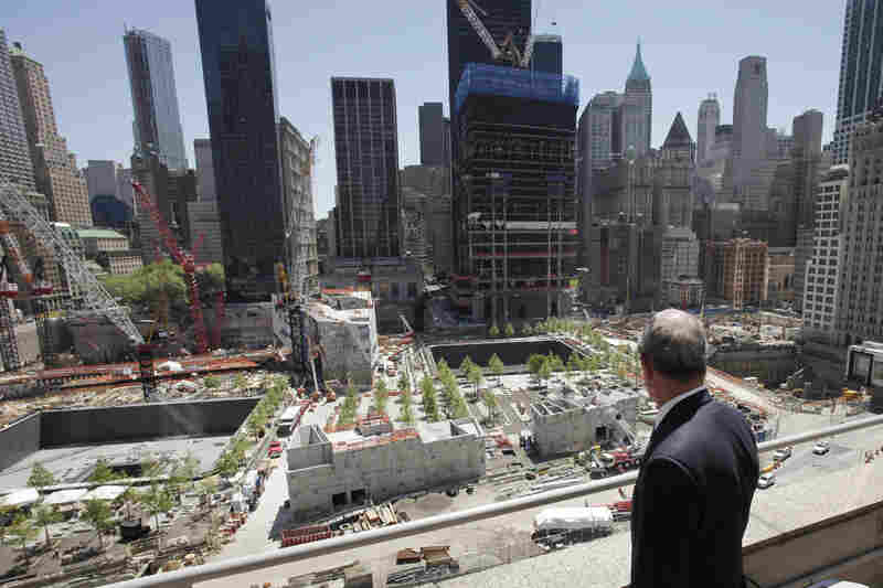 Bloomberg pauses to look at the World Trade Center site following a news conference on May 10, 2011.