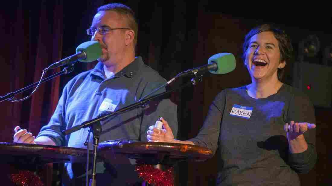 Contestants Karen Sloan (right) and Rob Gilleece.