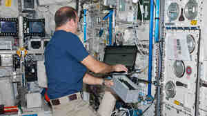 Flight Engineer Rick Mastracchio in the International Space Station's Columbus lab last month.