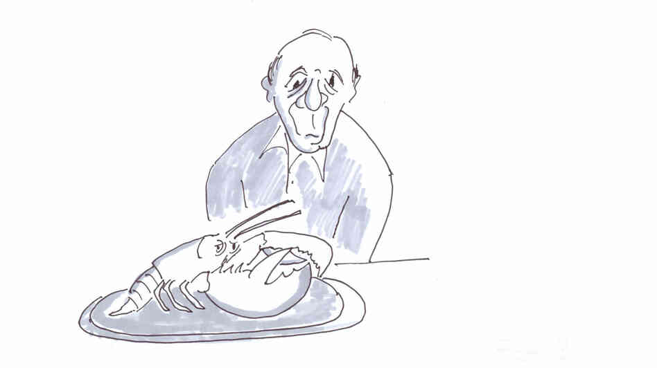 Old man faces old lobster — on his dinner plate.