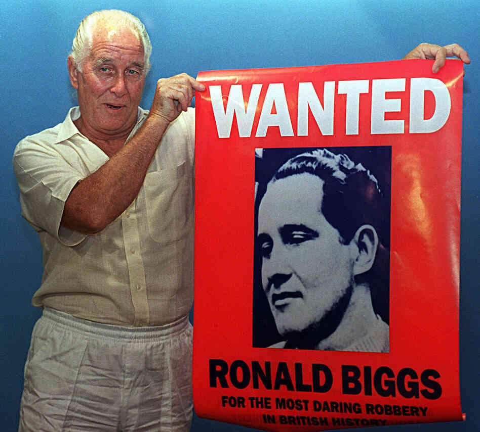 Ronnie Biggs, showing off his notoriety in 1994 while