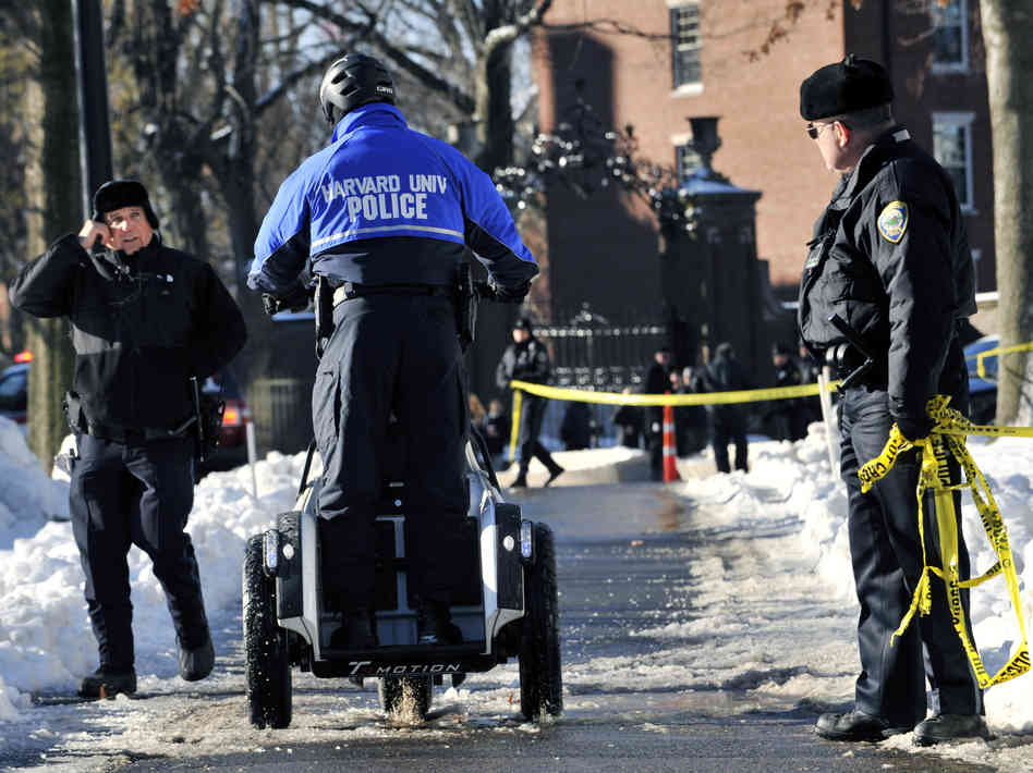 University police, FBI agents and Cambridge, Mass., officers all responded on Monday when Harvard received messages claiming that bombs had been planted in four buildings. None were found and a student has been charged in the hoax. he allegedly wanted