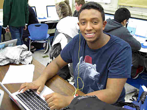 James Breton is a sophomore at the Academy for Software Engineering, one of several small schools now housed in New York's Washington Irving High School building.