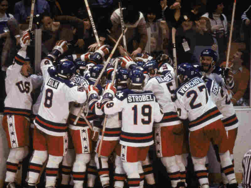 "Team USA celebrates its 4-3 victory over the Soviet Union in the semifinal Men's Ice Hockey event at the Winter Olympic Games in Lake Placid, N.Y., on Feb. 22, 1980. The game was dubbed ""the Miracle on Ice."""