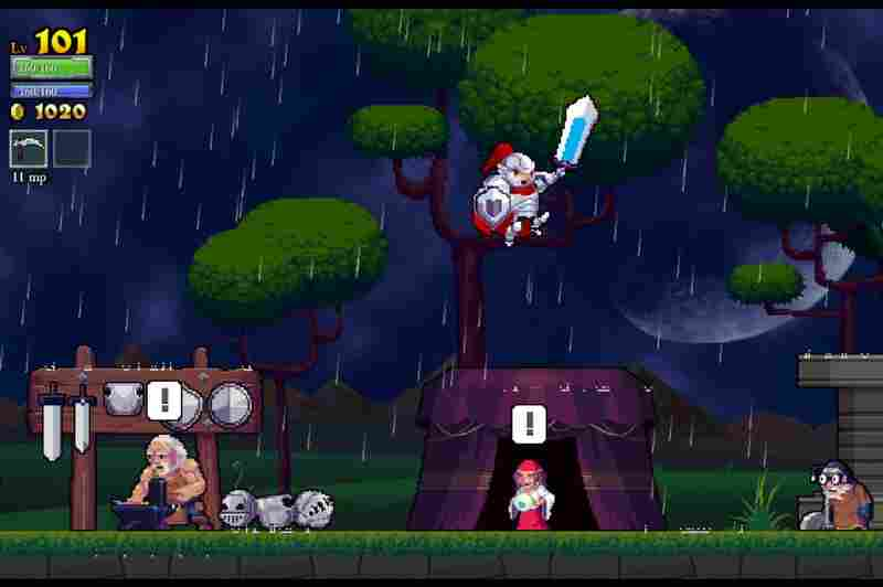 Rogue Legacy is a swords and sorcery platformer game full of colorful characters and randomly generated levels.