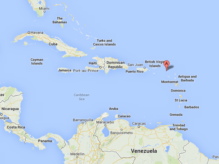 St. Martin island (A) is about the size of Manhattan and is located about 200 miles east of Puerto Rico.