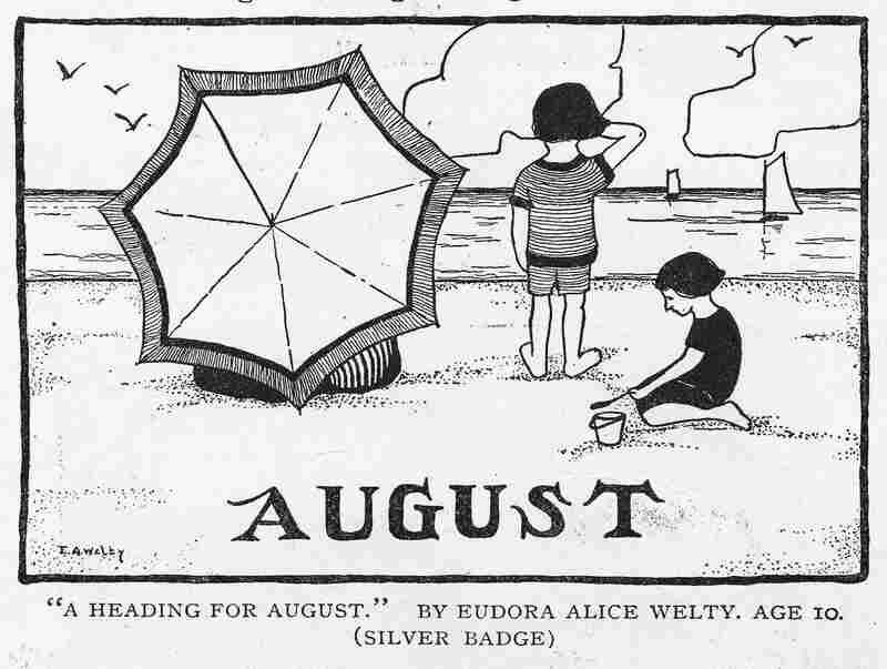 "In 1920, St. Nicholas published future novelist Eudora Welty's drawing ""A Heading For August."""
