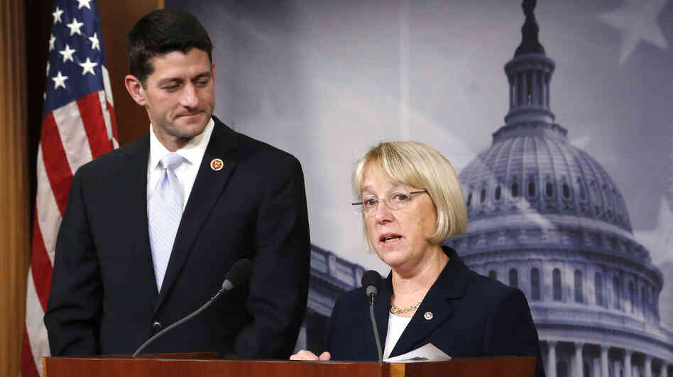 Senate Budget Committee Chairman Patty Murray, D-Wash., and House Budget Committee Chairman Paul Ryan, R-Wis., unveil a budget deal Dec. 10 in Washington.