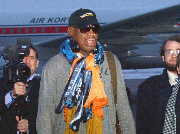 Former U.S. basketball superstar Dennis Rodman arrives in Pyongyang on Thursday.