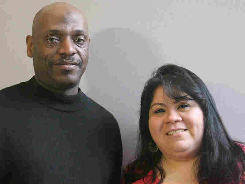 Willie Davis with his friend Yelitza Castro in Pineville, N.C.