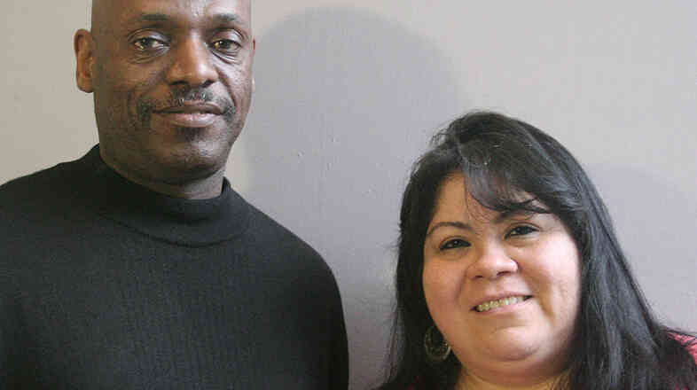 Willie Davis with his friend Yelitza Castro in Pineville, N.C.