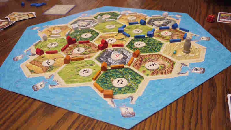 The Catan gameboard is made up of hexagonal tiles.