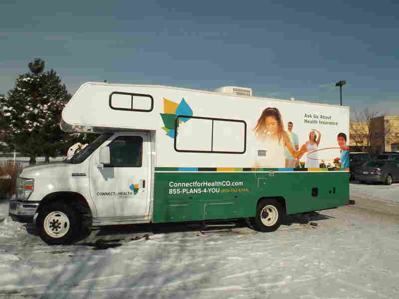The Colorado health exchange van stops at a shopping center in Fort Collins.