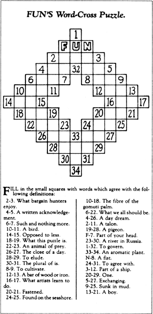 "Arthur Wynne's first published ""word-cross"" puzzle in The New York World."