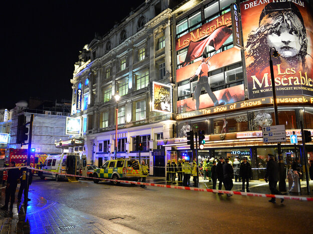 A rescue operation is underway at the Apollo Theatre in London after part of the roof collapsed during a performance, trapping people inside.