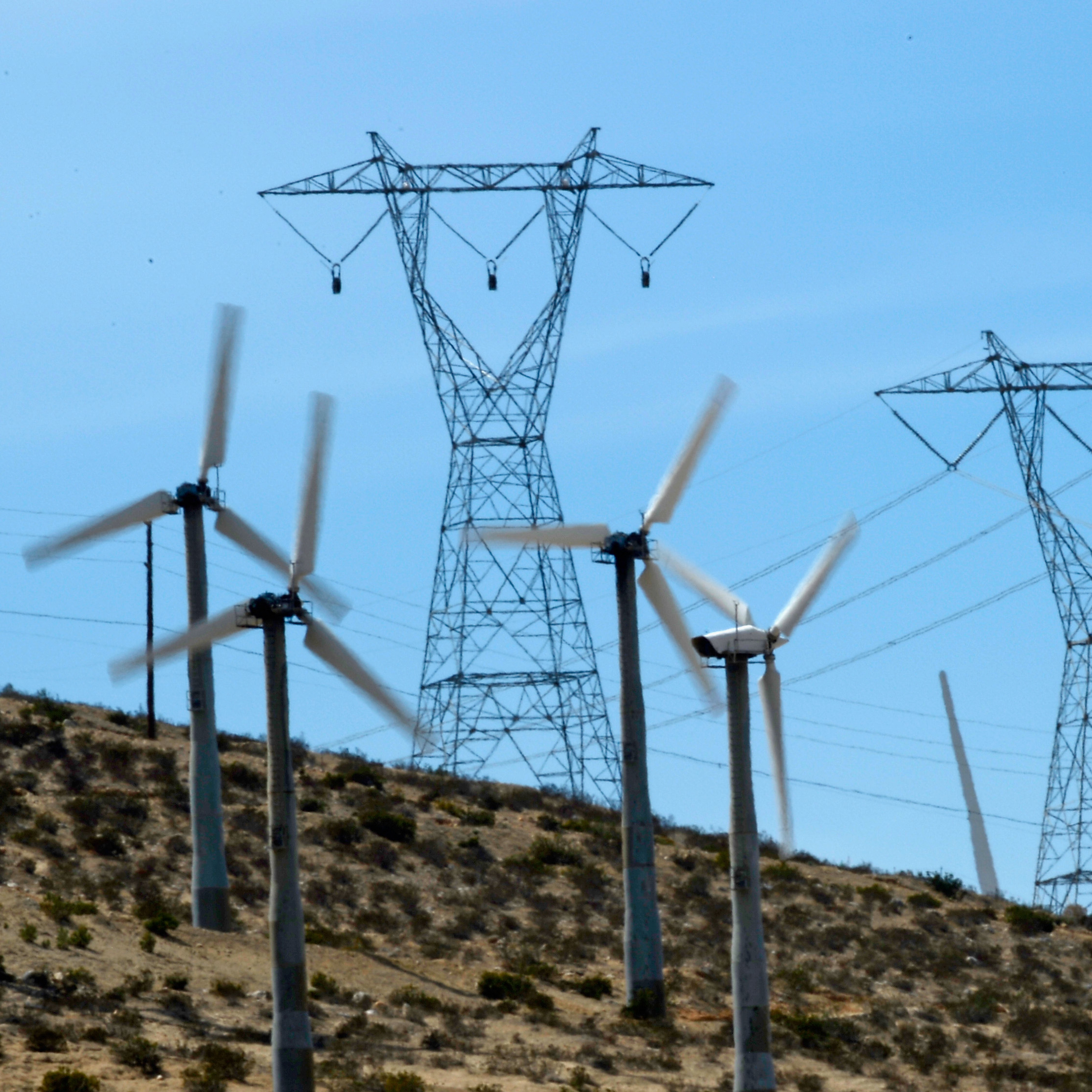 The clear skies and strong winds of Palm Springs, Calif., make turbines and solar panels popular.