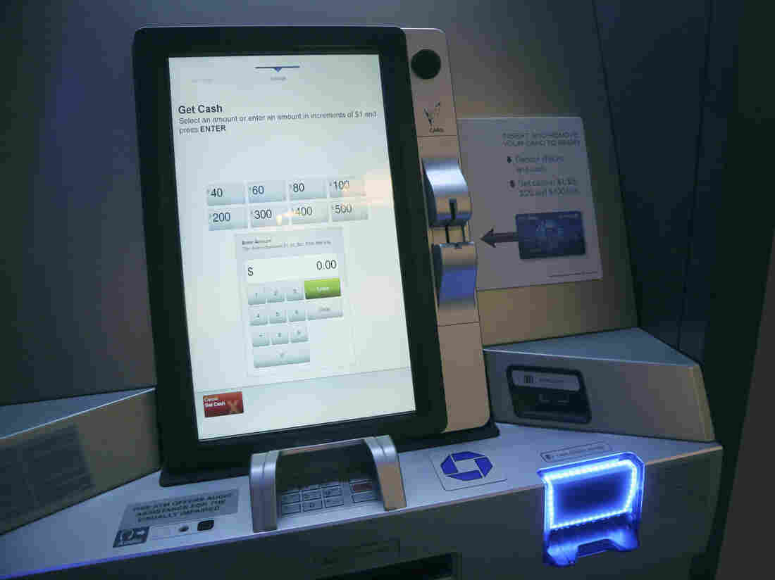 """An ATM at a Chase lobby in New York is part of what company executives are touting as a """"branch of the future"""" — a place where machines distribute exact change and count cash so tellers don't have to."""