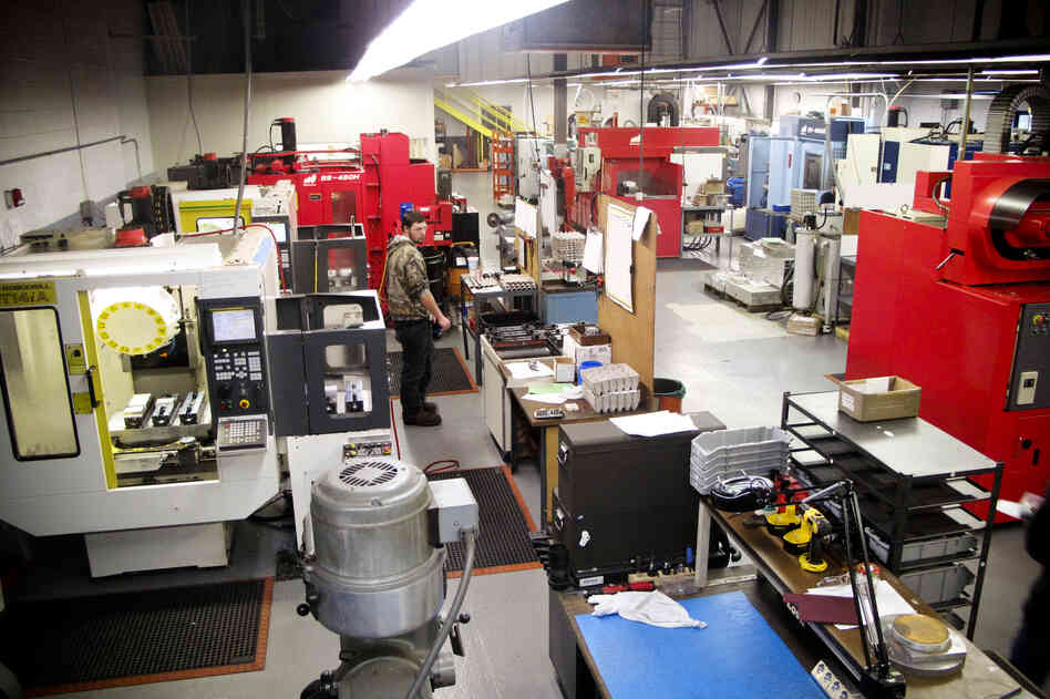 Unlike the smoky, eardrum-damaging factories of yesterday, today's manufacturing is going high-tech. That can mean more robots and automated machines than workers. But companies like Machine Inc. in Stoughton, Mass.,