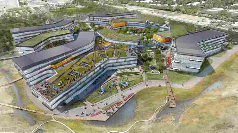 Architect's rendering of a planned 1.1 million-square-foot Google facility in Mountain View, Calif.