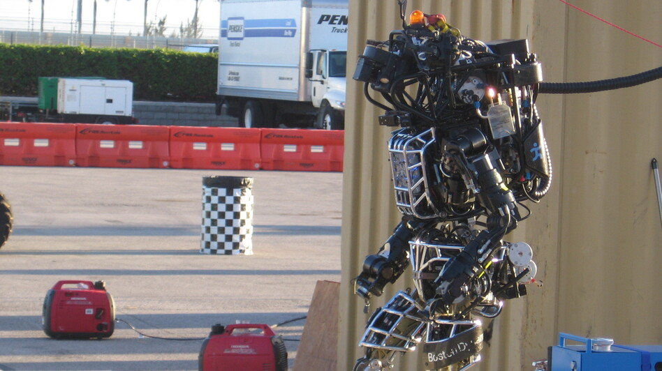 Atlas, a humanoid robot, is competing against 16 other robots in a Pentagon-sponsored contest this weekend.