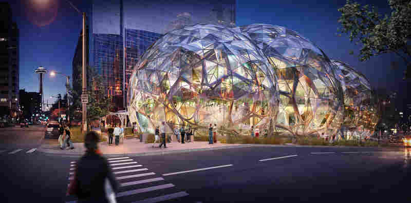 Amazon's new facility, shown in this architect's rendering, is located in the heart of Seattle.