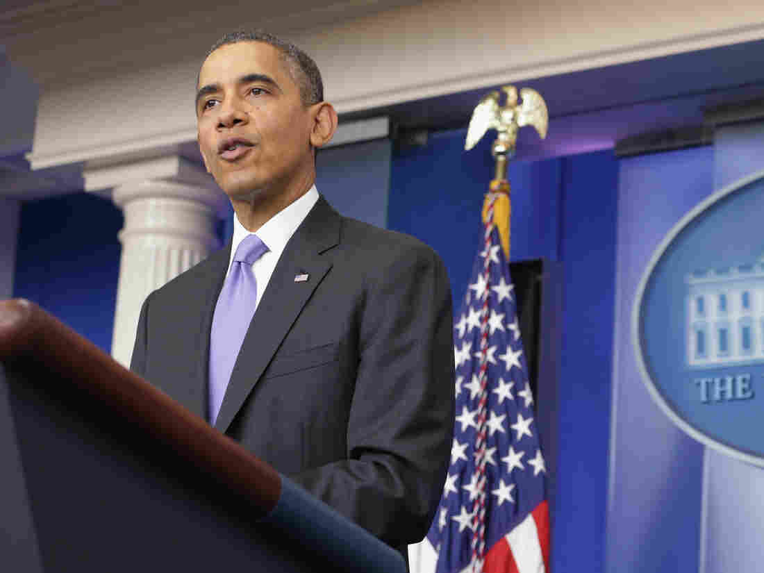 President Barack Obama speaks during a news conference at the White House on Friday. President Obama spoke about the economy and the Affordable Care Act and answered questions from members of the media before leaving for his two-week vacation in Hawaii.