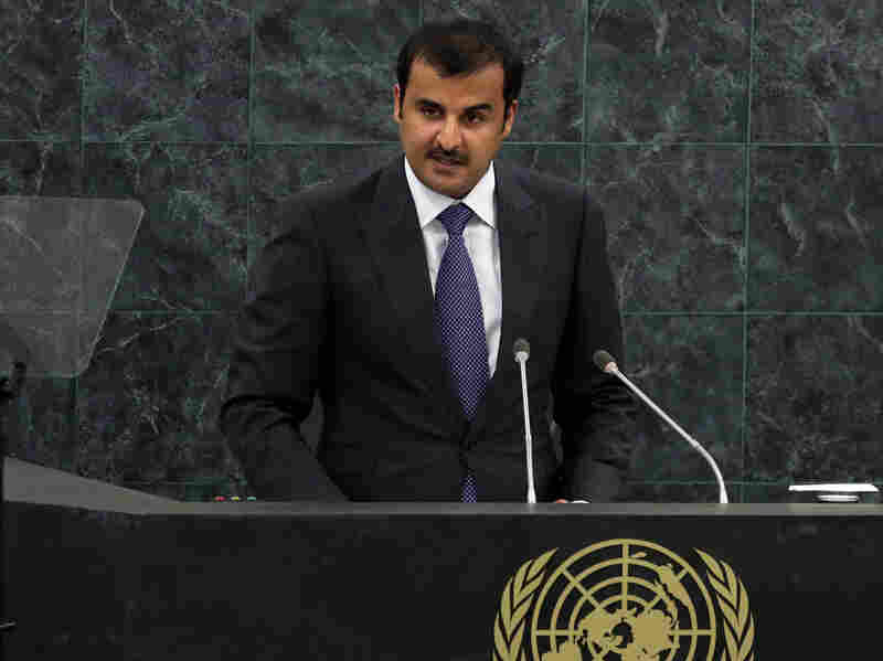 Qatar's emir, Sheik Tamim bin Hamad al-Thani, addresses the United Nations General Assembly on Sept. 24. Sheik Tamim, 33, took over from his father six months ago.