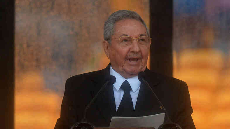 Cuba's President Raúl Castro speaks during the memorial service of former South African president Nelson Mandela.
