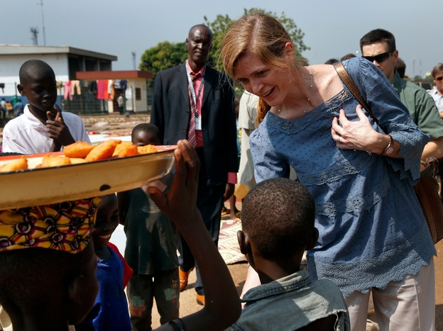 Samantha Power greets children on Thursday at a makeshift refugee camp in Central African Republic, where more than 40,000 people have found refuge from sectarian violence.