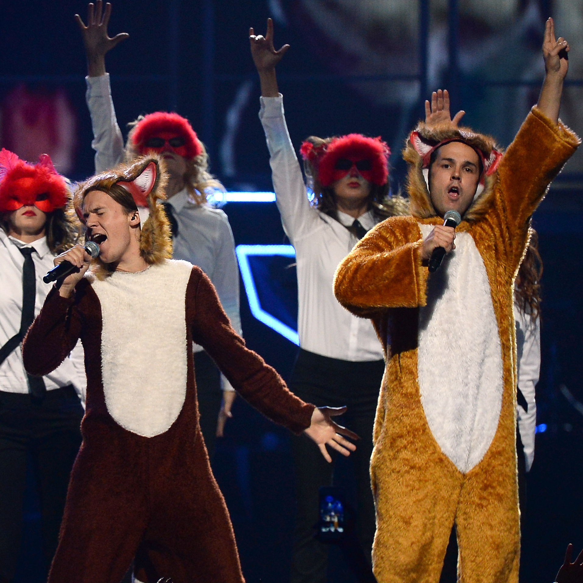 "Bard Ylvisaker (L) and Vegard Ylvisaker of Ylvis perform ""The Fox (What Does The Fox Say?)"" in September."