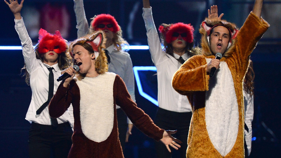 "Bard Ylvisaker (L) and Vegard Ylvisaker of Ylvis perform ""The Fox (What Does The Fox Say?)"" in September. (Getty Images)"